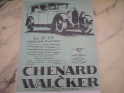 ANCIENNE PUBLICITE AUTOMOBILE CHENARD & WALCKER LA 10 CV  1928 - Cars