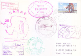 SOUTH AFRICA ANTARCTIC EXPEDITION COVER, 1984 - SPECIAL CANCELLATIONS, NEUTRON RESEARCH, HELICOPTER FLIGHT - Covers & Documents