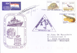 SOUTH AFRICA ANTARCTIC EXPEDITION COVER, 1994 - SPECIAL CANCELLATIONS AND SIGNATURE, UNIVERSITY OF GENT, ZOOLOGY - Covers & Documents
