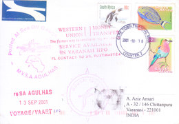 SOUTH AFRICA 2001 ANTARCTIC EXPEDITION COVER TO INDIA - SPECIAL ANTARCTIC CANCELLATIONS, INDIAN SLOGAN CANCELLATIONS - Covers & Documents