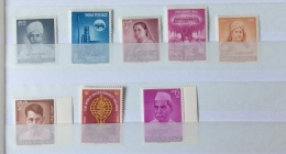 India 1961-2 SG 448, 449, 450,451, 452,453,454, 455 SINGLE SETS  Mnh - Inde