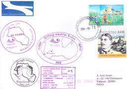 SOUTH AFRICA 2004 ANTARCTIC EXPEDITION COVER POSTED TO INDIA - SPECIAL CANCELLATIONS / GOUGH ISLANDS 50 YEARS - Covers & Documents