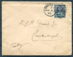 1895 GB QV Jubilee Cover London SW Duplex - British Post Office, Constantinople, Turkey - Storia Postale