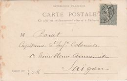 CPA 1903 / Destinataire  Bouët / Capitaine Infanterie Coloniale / 1er Tirailleur Annamite / Saïgon/Indochine - Marcophilie (Lettres)