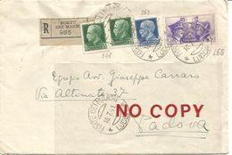 Forte Dei Marmi, Raccomandata, Lunette 16.7.1941 Su Sassone 248 X 2 + 253 + 455,  Per Padova. - Poststempel