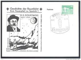 Germany DDR 1982 Card: Space Weltraum Espace: History Of Space Flights 23/50; K. E Ziolkowski Konstantin Tsiolkovsky - United States