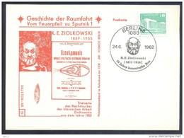 Germany DDR 1982 Card: Space Weltraum Espace: History Of Space Flights 22/50; K. E Ziolkowski Konstantin Tsiolkovsky - USA