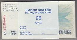 BOSNIE Herzégovine 1992 25 Dinara Bundle 100pcs UNC. Billets P 11 Wholesale - Non Classés
