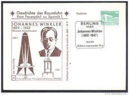 Germany DDR 1983 Card: Space Weltraum Espace: History Of Space Flights 29/50; Johannes Winkler Rocket Rakete - USA