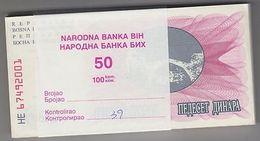 BOSNIE Herzégovine 1992 50 Dinara Bundle 100pcs UNC. Billets P 12 Wholesale - Zonder Classificatie