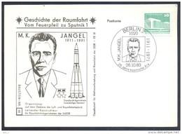 Germany DDR 1983 Card: Space Weltraum Espace: History Of Space Flights 48/50: M.K. Jangel Rocket Rakete Trägerrakete - USA