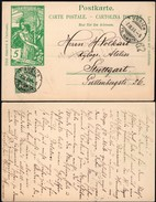 Switzerland - Uprated Stationery '25 Years UPU Jubilee' (MiNr P32), Zürich 7.9.1900 - Stuttgart - Entiers Postaux