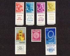 7x Stamps- Israel 133-136B Tabs,MNH. Simeon, Dan, Naphtali, Asher, 1957-1959, Coins 1949 Stamp - 15 Mil, - Israel