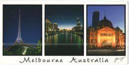 AUSTRALIA - 2011 - 1,60 International Post Snowboard - Melbourne By Night - Multivues - Viaggiata Da Melbourne Per Sanno - Melbourne