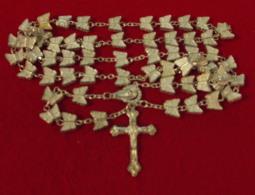 Religion Ancien Chapelet- Grain Metal De Forme Papillon, 75Gr, 51.5 Cm  - 2 Scans - Religion & Esotericism