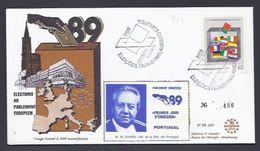 8.3.89  PORTUGAL LISBOA SOARES PRESIDENT PARLEMENT ELECTIONS CONSEIL EUROPE VIGNETTE TIRAGE LIMITE 600 Ex - 1910-... République