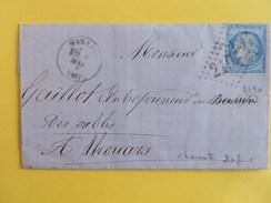 CERES DENTELE 60 SUR LETTRE DE MARANS A THOUARS DU 1 MAI 1873 (GROS CHIFFRE 2194) - 1849-1876: Période Classique