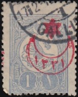 TURKEY - Scott #401 Sultan Tugra Abdul Hamid II 'Overprint'/ Used Stamp - 1858-1921 Ottoman Empire
