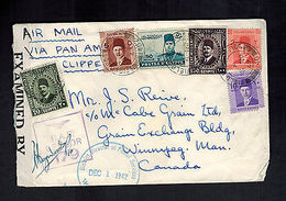 1942 Egypt RAF Censored Airmail Clipper Cover To Canada - Unclassified
