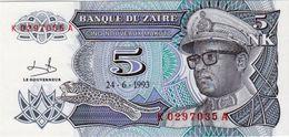 ZAIRE 5 NOUVEAUX MAKUTA BANKNOTE 1993 PICK NO.48 UNCIRCULATED UNC - Zaire