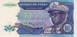 ZAIRE 200000 ZAIRES BANKNOTE 1992 PICK NO.42 UNCIRCULATED UNC - Zaire