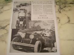 ANCIENNE AFFICHE PUBLICITE VOITURES LA SALLE CHIC SOUPLE   1928 - Cars