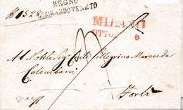 LV210  - Prefilatelica - 6 Ottobre 1836 -Lettera Franca Con Testo Da Milano A Forlì - DISINFETTATA -. - 1. ...-1850 Prefilatelia