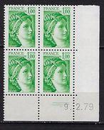 """FR Coins Datés YT 1973 """" Sabine 1F00 Vert """" Neuf**  Du 9.2.79 - Coins Datés"""