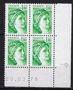 """FR Coins Datés YT 1973 """" Sabine 1F00 Vert """" Neuf**  Du 20.3.79 - Coins Datés"""