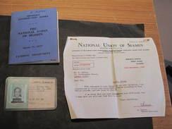 THE NATIONAL UNION OF SEAMEN-MEMBER'S CONTRIBUTION BOOKS+ALIEN CREWMAN LANDING PERMIT AND IDENTIFICATION CARD ASHTON R - Vieux Papiers