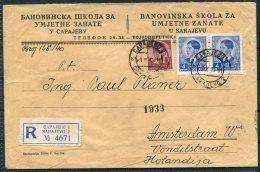 1940 Sarajevo Registered Cover - Amsterdam, Holland - 1931-1941 Kingdom Of Yugoslavia