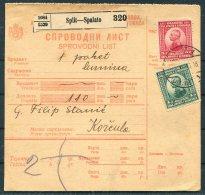 1922 Split Spalato Parcelcard - Korcula - 1919-1929 Königreich Der Serben, Kroaten & Slowenen