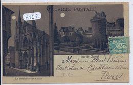 VANNES- RARE LITHO DE LA TOUR DE CLISSON ET DE LA CATHEDRALE DE VANNES ECRITE EN 1898 - Vannes