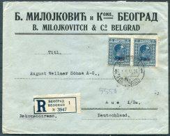 1926 Belgrade Registered Provisional Overprint Cover Milojkovitch & Co - Aue, Germany - 1919-1929 Kingdom Of Serbs, Croats And Slovenes
