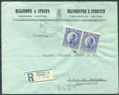1926 Belgrade Registered Eisenhandler / Ironmonger Cover - Aue, Germany. Velykovitch & Stanitch Belgrad Beograd - 1919-1929 Kingdom Of Serbs, Croats And Slovenes