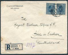 1927 Belgrade Exportbank Registered Cover -  Aue, Germany. Beograd, Belgrad - 1919-1929 Kingdom Of Serbs, Croats And Slovenes