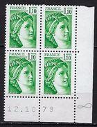 """FR Coins Datés YT 2058 """" Sabine 1F10 Vert  """" Neuf**  Du 12.10.79 - Coins Datés"""