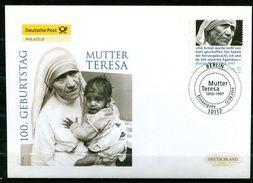 """First Day Cover Germany 2010 Mi. Nr.2813 Ersttagsbrief """"100. Geb. Von Mutter Teresa,Friedensnobelpreisträgerin """" 1 FDC - Nobel Prize Laureates"""