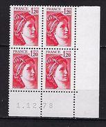 """FR Coins Datés YT 1974 """" Sabine 1F20 Rouge """" Neuf**  Du 1.12.78 - Coins Datés"""