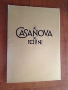 "Synopsis De Presse ""Le Casanova De Fellini  "" 1974 - Programmi"