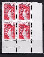 """FR Coins Datés YT 1974 """" Sabine 1F20 Rouge """" Neuf**  Du 26.01.79 - Coins Datés"""