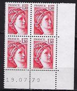 """FR Coins Datés YT 2059 """" Sabine 1F30 Rouge """" Neuf**  Du 19.07.79 - Coins Datés"""