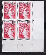 """FR Coins Datés YT 2059 """" Sabine 1F30 Rouge """" Neuf**  Du 11.09.79 - Coins Datés"""