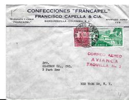 29-47 - Enveloppe Envoyée  De Colombie Aux USA  Cachet Correo Aereo Avianca Taquilla 1952 - Colombia