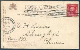 1907 USA Auburn, New York Tuck Postcard. San Francisco - Shanghai, China. US Postal Station - United States