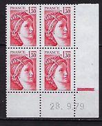 """FR Coins Datés YT 2059 """" Sabine 1F30 Rouge """" Neuf**  Du 28.09.79 - Coins Datés"""