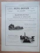 1922 - TOUR PARALLELLE Et En L'AIR - Ets  FETU DEFIZE - Page Originale MACHINE Industrielle - Tools