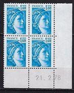 """FR Coins Datés YT 1975 """" Sabine 1F40 Bleu """" Neuf**  Du 21.2.78 - Coins Datés"""