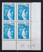 "FR Coins Datés YT 1975a "" Sabine 1F40 Bleu GT "" Neuf**  Du 23.2.78 - Coins Datés"
