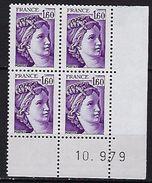 """FR Coins Datés YT 2060 """" Sabine 1F60 Violet """" Neuf** Du 10.9.79 - Coins Datés"""